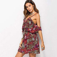 Shoulderless Bell Sleeve Floral Dreams Mini Dress,dress,Mindful Bohemian,Mindful Bohemian