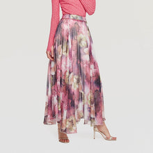 White Pink Floral Pleated Maxi Skirt
