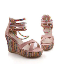 Beaded Multi Color Wedge Heels -  Free People - Bohochic - Music Festival