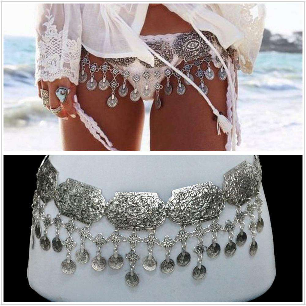 Gypset Silver Coin Belt -  Free People - Bohochic - Music Festival