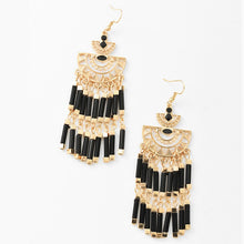 Gold Black Drop Earrings