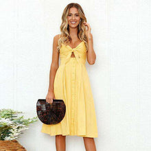Knot Front Button Up Summer Sun Dress,,Mindful Bohemian,Mindful Bohemian