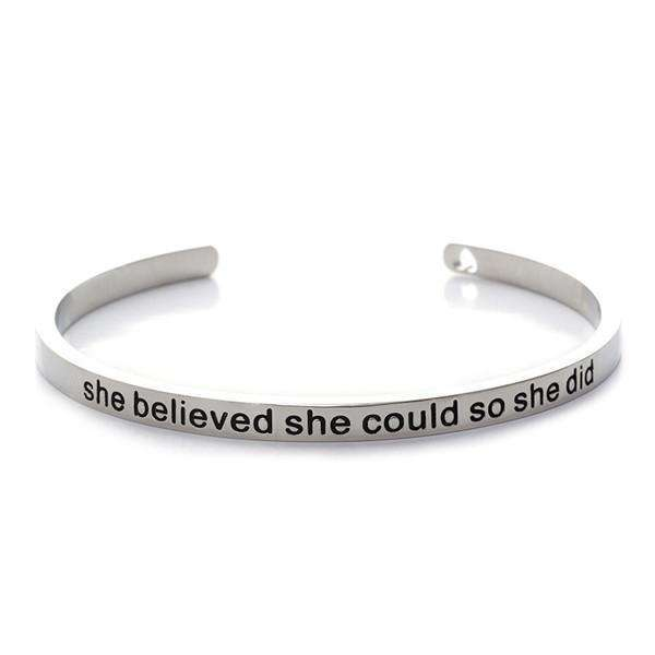 'She Believed She Could So She Did' Cuff Bangleaccessories