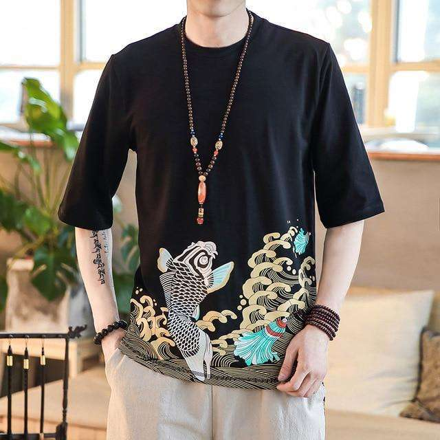 Men's Casual Fish Art Topmens