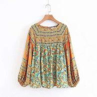Dusty Yellow  Turqouise Dreams Bohemian Gypsy Bell Sleeve Blouse & Skirt Spell Setblouse