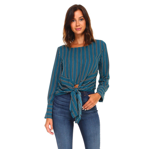 Long Sleeve Tie Striped Blousetop