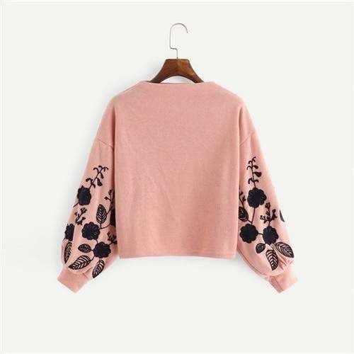 Floral Embroidered UpTown Sweatshirttops