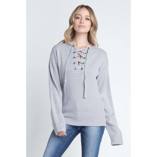 Women's Criss Cross Lace Up Pulloverpullover