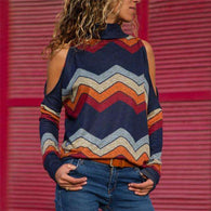 Bare Shoulder Retro Boho Sweatersweater
