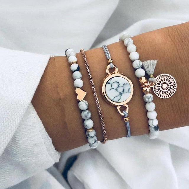 Heart Long Tassel Bracelet Set