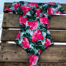 Off Shoulder Printed One Piece Swimsuit