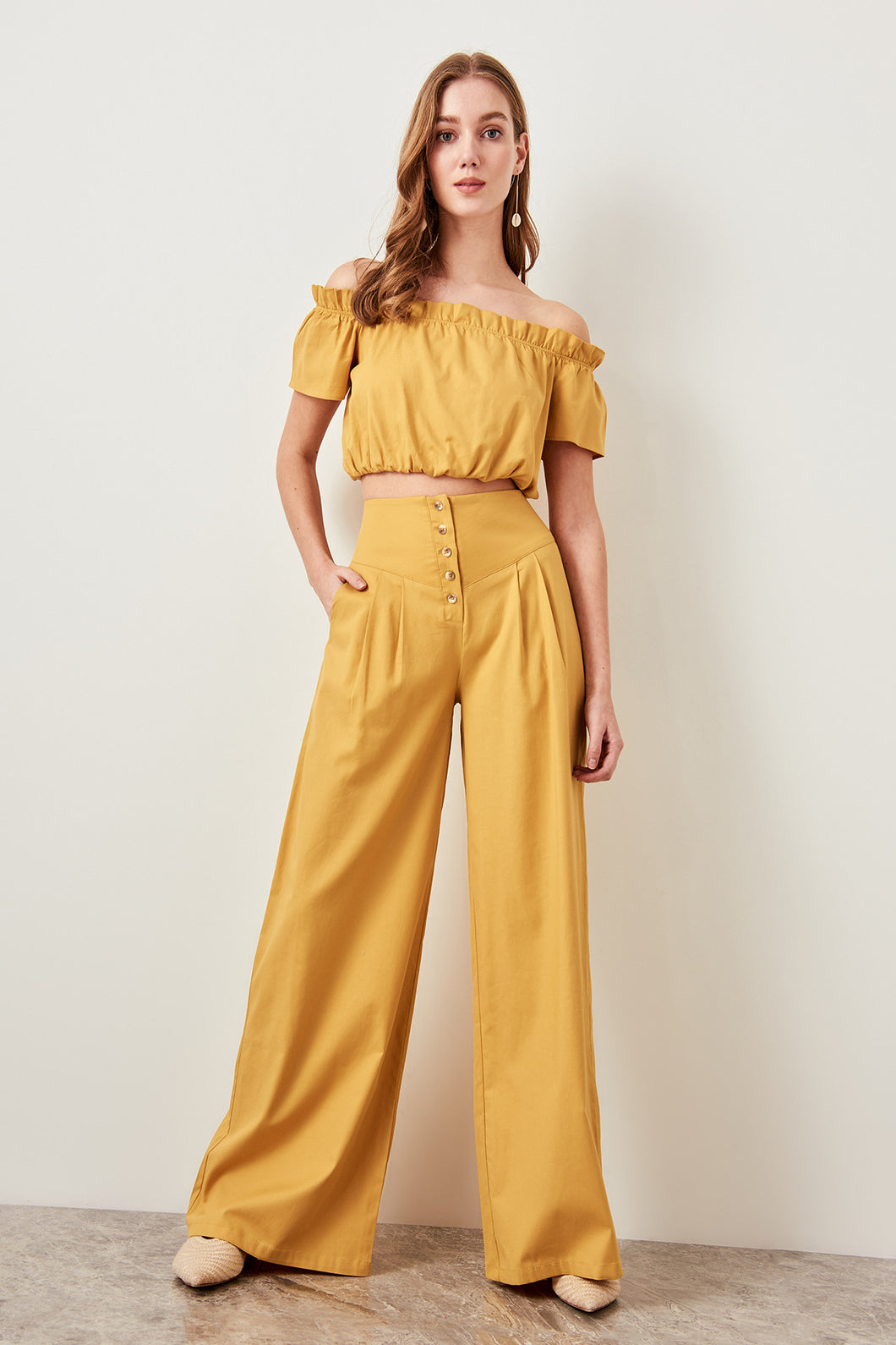 Mustard Button Pants