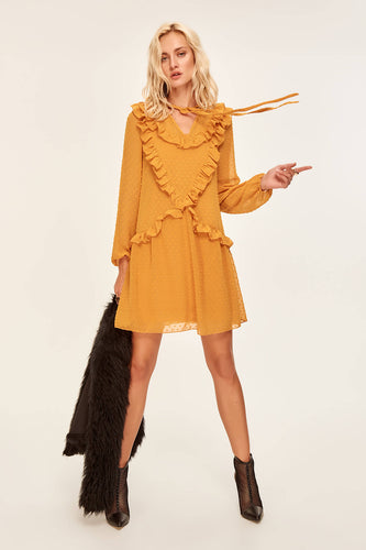 Mustard Ruffled Mini