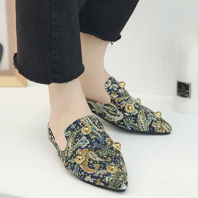 Paisley Pointed Mules