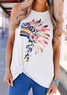 Tribal Feathers Tank Top