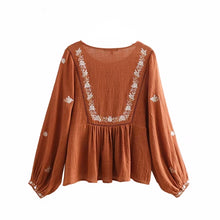 Lantern Sleeves Pleated Vintage Blouse