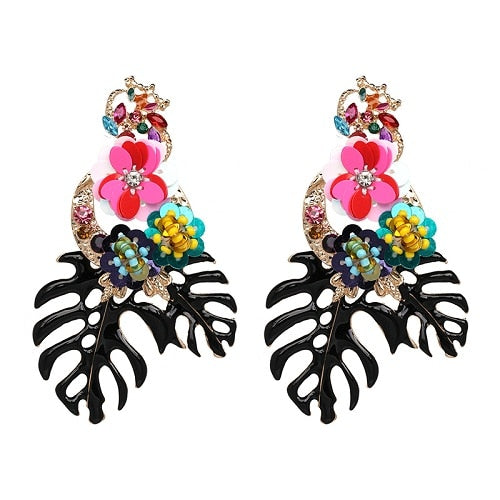 Vintage Vibrant Floral Earrings