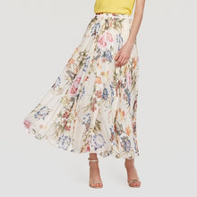 Beige Purple Floral Pleated Maxi Skirt
