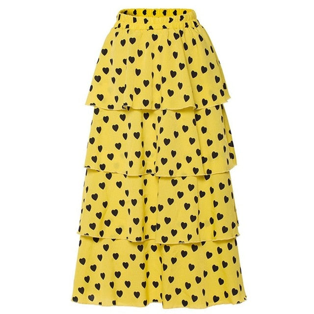 Hearty Sunshine Layered High Waist Skirt