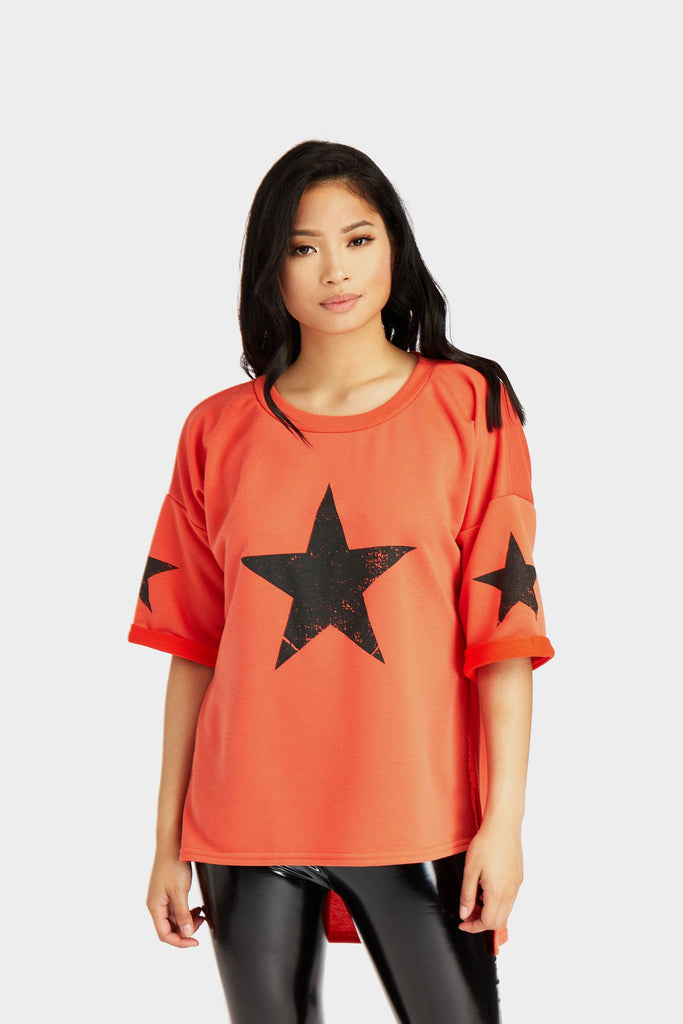 Red Star Print Sweat Top