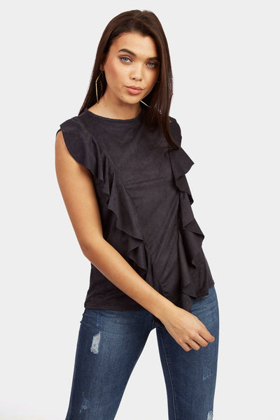 Black Faux Suede Top With Frill Detail