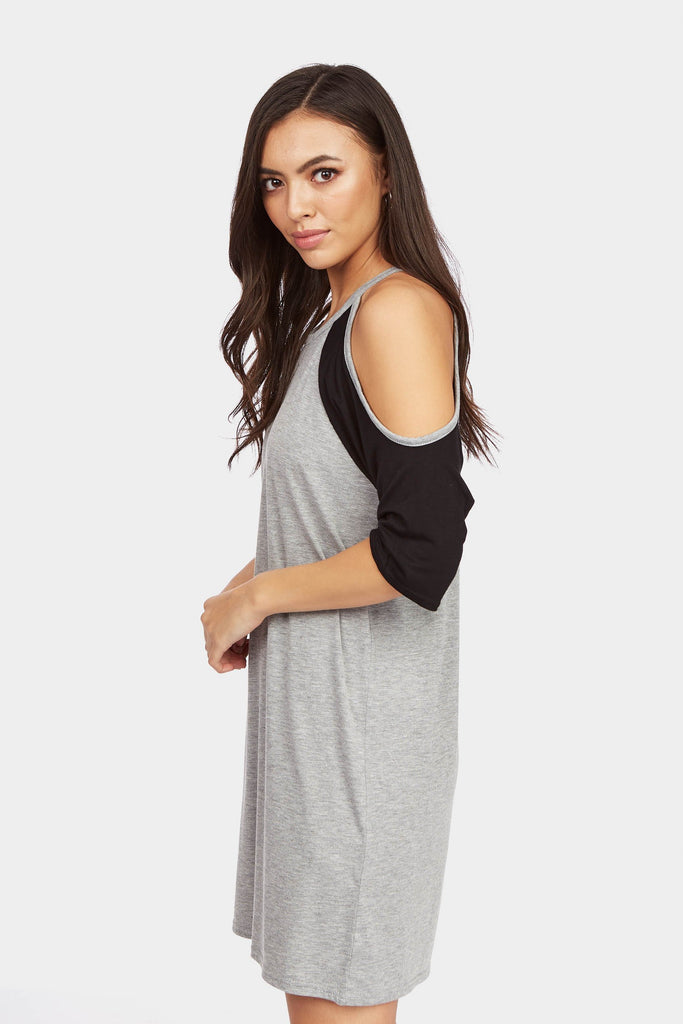 Grey/Black Contrast Cold Shoulder T-Shirt Dress
