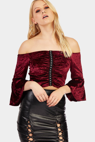 Wine Off The Shoulder Studded Crop Top