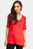 Red Basic V Neck T-Shirt