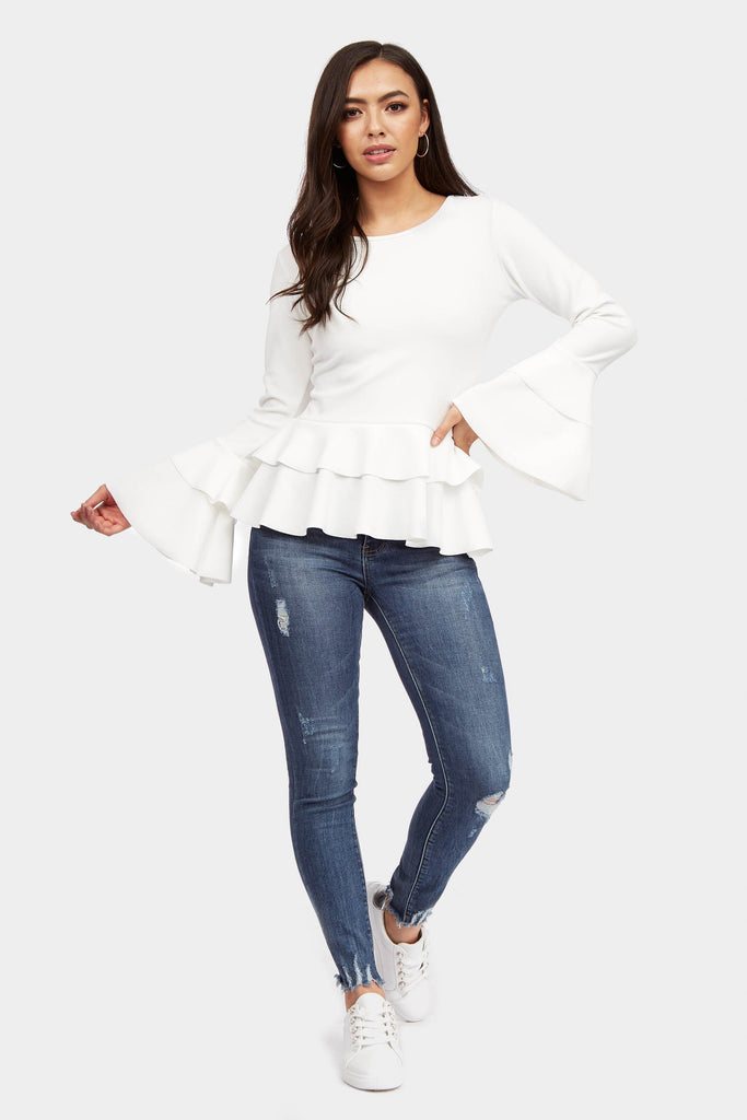 Cream Frill Hem Long Sleeve Top