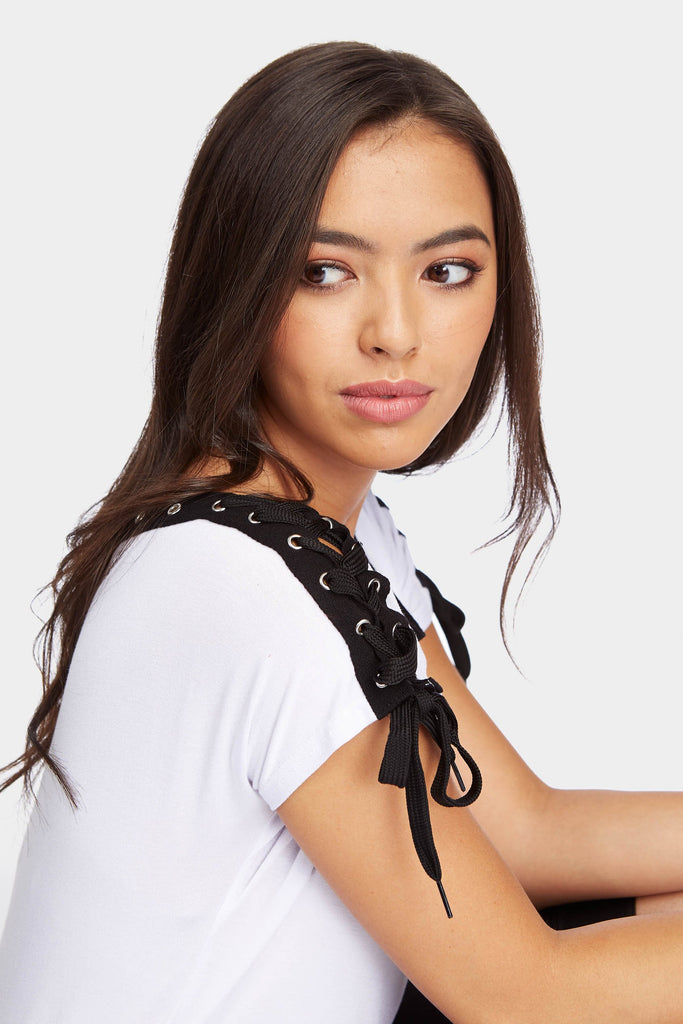 White Lace Up Eyelet Detail T-Shirt