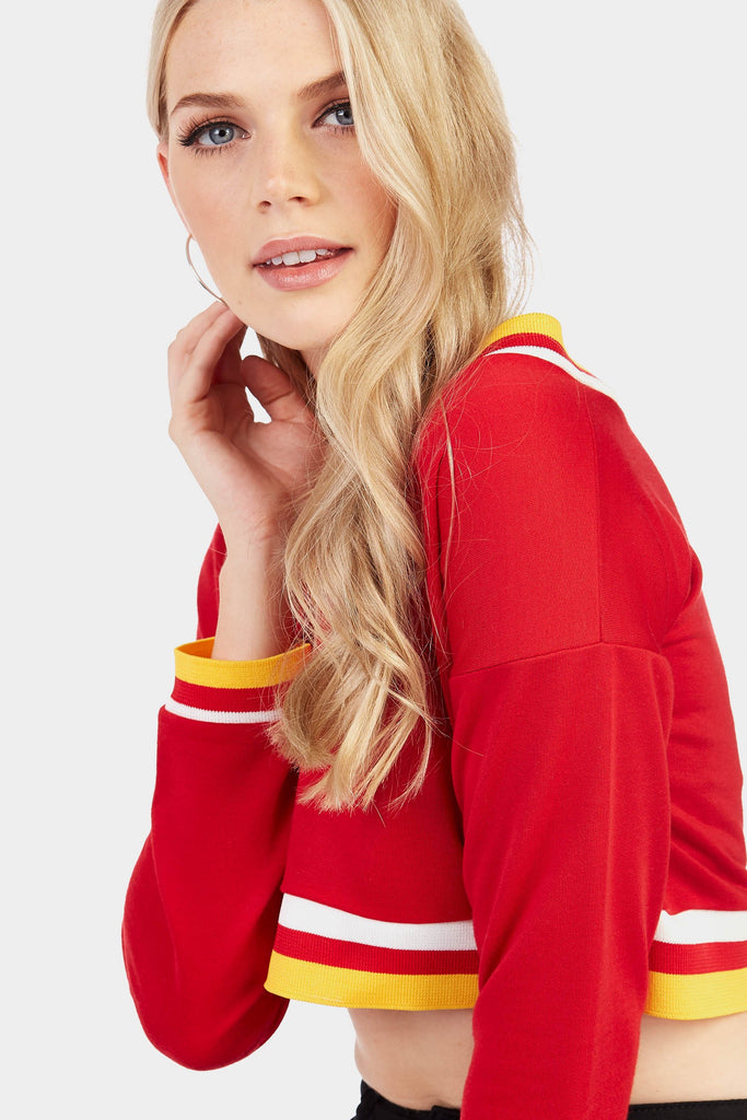 Red V Neck Sweat Top With Ribbed Detail