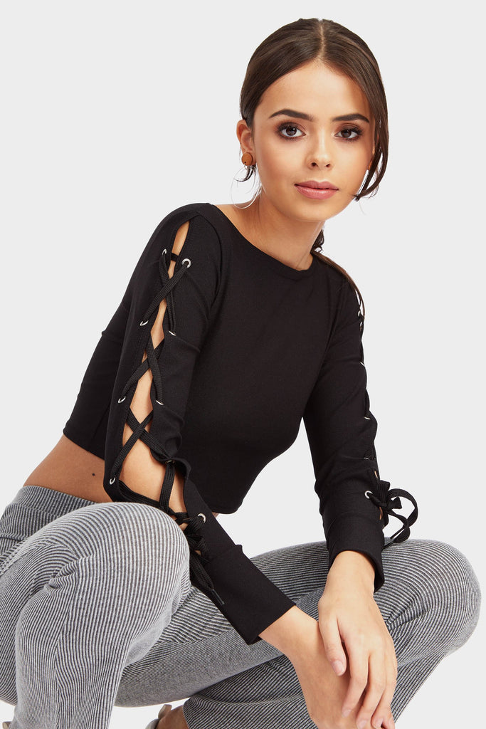 Black Lace Up Sleeve Detail Crop Top