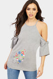 Grey Cold Shoulder Embroidered Top
