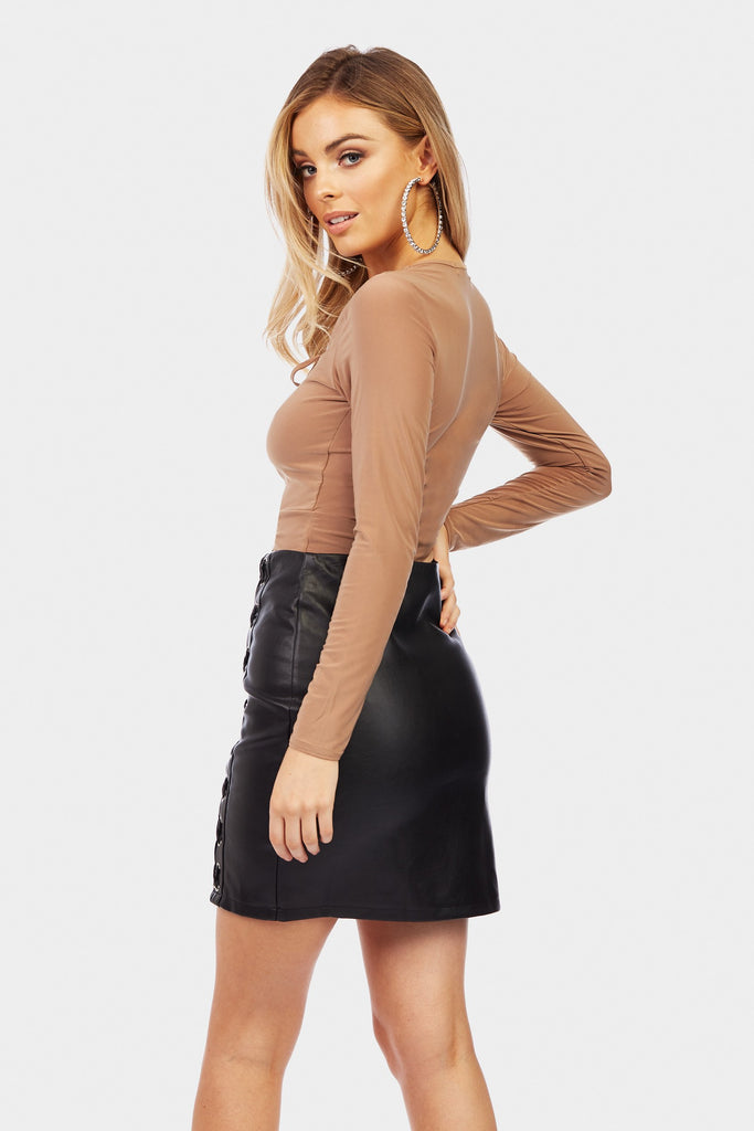 Brown Lace Up Front Crop Top