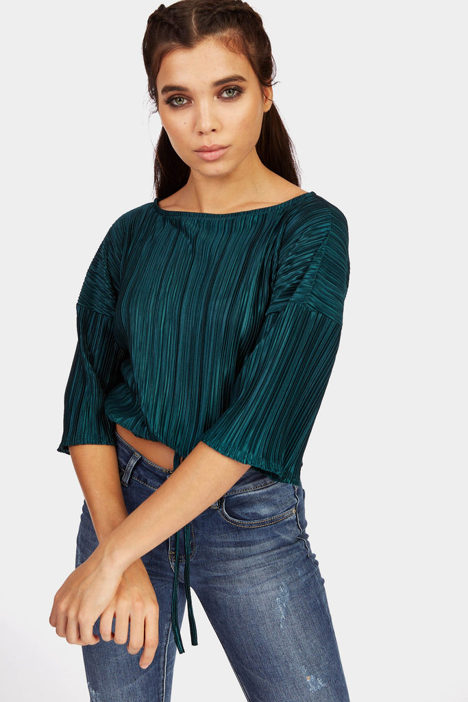 Teal Pleated Drawstring Top