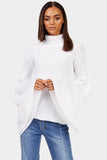 White Turtle Neck Jumper With Flare Sleeves