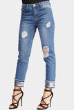 Mid Blue Sequin Hem Distressed Jeans