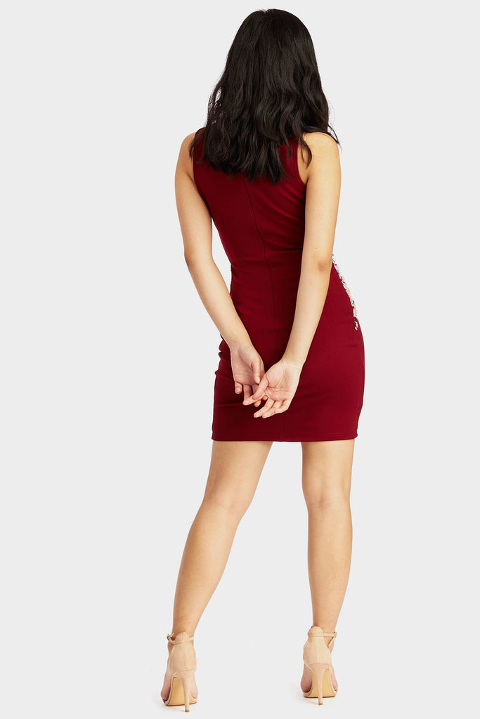Wine Mesh Front Sequin Trim Dress