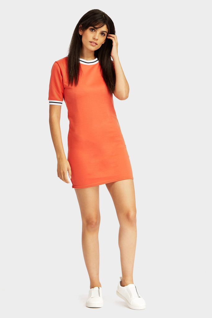 Red Striped Ribbed Neck & Cuff Sweat Dress