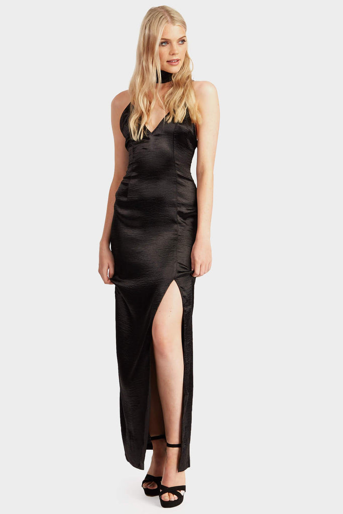 Black Long Satin Choker Maxi Dress