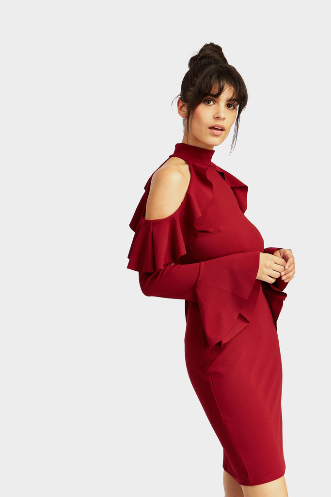 Wine Frill Cold Shoulder Long Sleeve Midi Dress