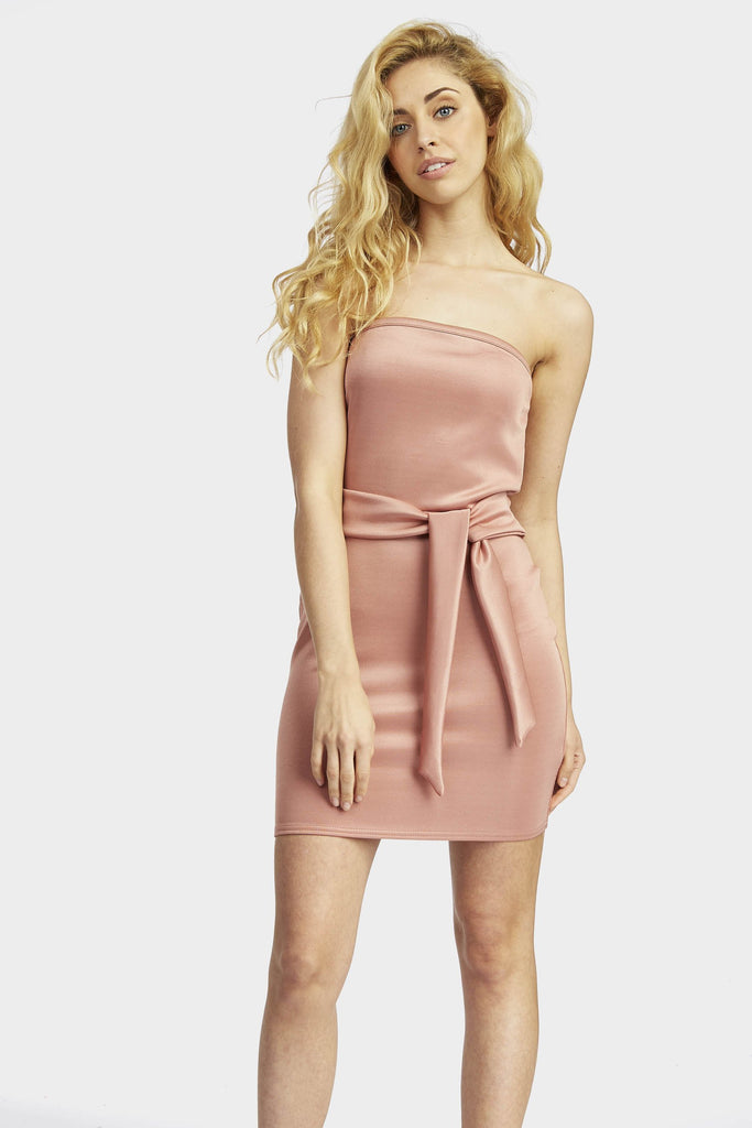 Rose Bandeau Tie Mini Dress