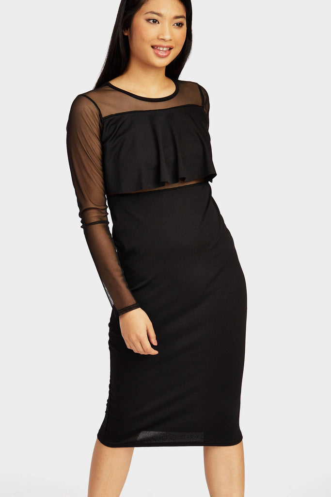 Black Mesh Frill Midi Dress