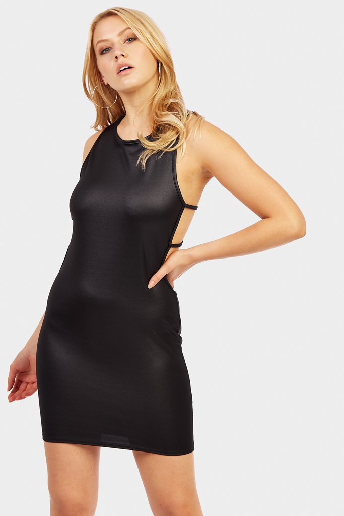 Black Mini Dress With Strap Back Detail
