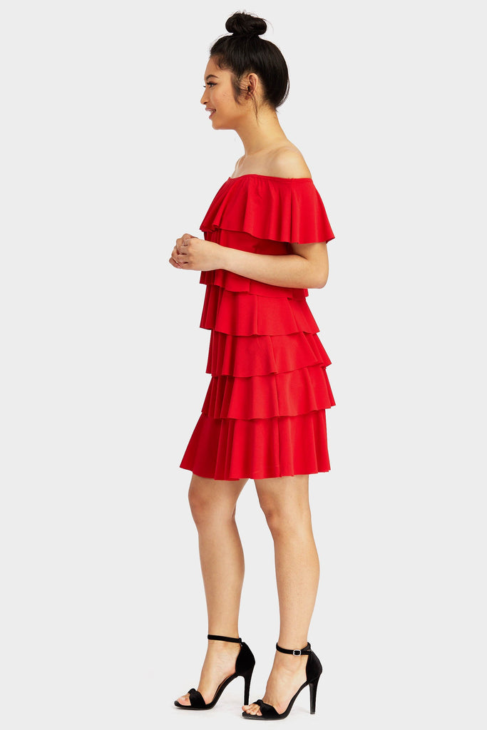 Red Bardot Frill Dress