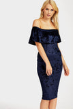 Blue Bardot Velvet Midi Dress