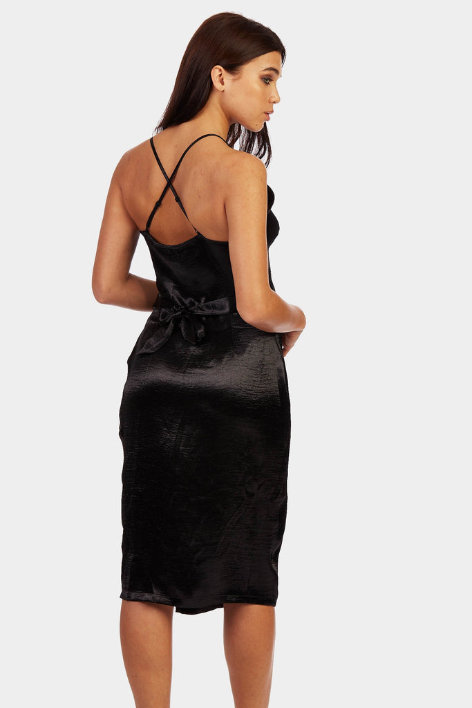 Black Belted Wrap Around Cami Dress