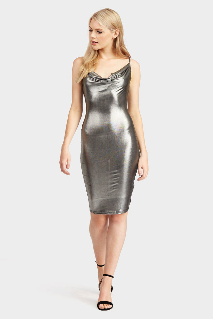 Black Cowl Neck Metallic Slip Dress