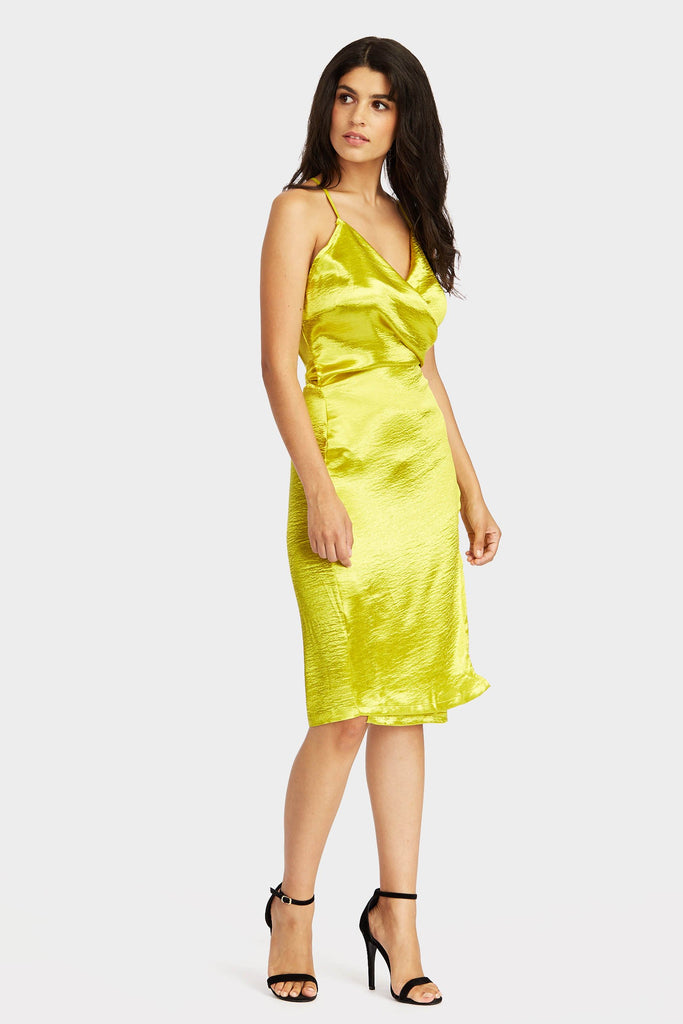 Lime Belted Wrap Around Cami Dress