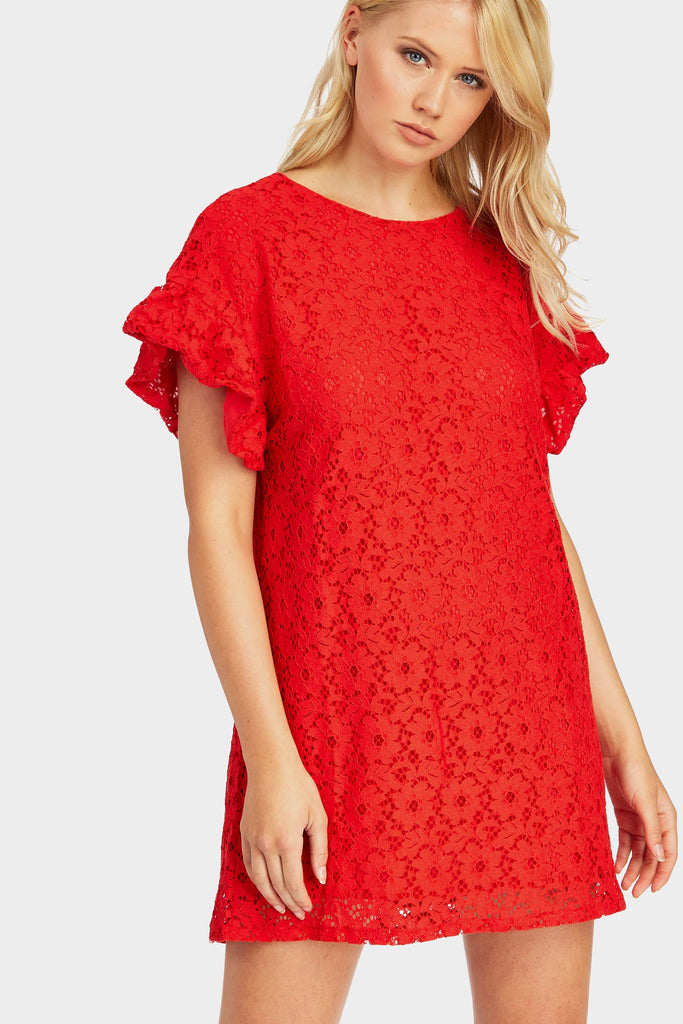 Red Lace Ruffle Sleeve Dress